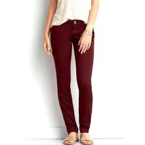 American Eagle Burgundy Skinny Stretch Jeans